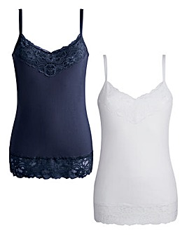 Joanna Hope Lace-Trim Jersey Vests
