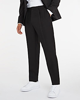 Black Tapered Trousers with Pleat Front