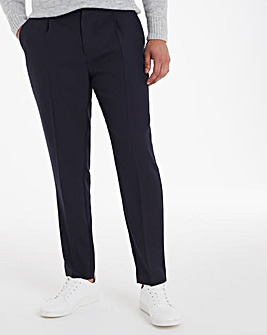 Navy Tapered Trousers with Pleat Front