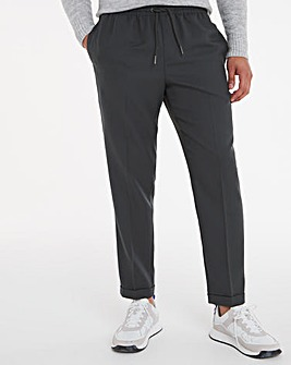Grey Elast Jogger Trousers with Turn Up