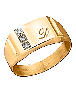 9ct Gold Diamond-Set Personalised Ring