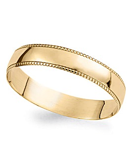 9 Carat Gold Ladies Detail Edge Wedding Band