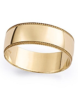 9 Carat Gold Gents Detail Edge Wedding Band