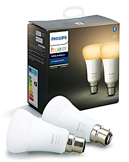 Philips Hue BT White Ambience B22 Twin Pack