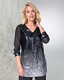 Julipa Chiffon Sleeve Ombre Sequin Tunic