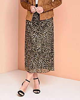 Julipa Leopard Print Pleated Skirt