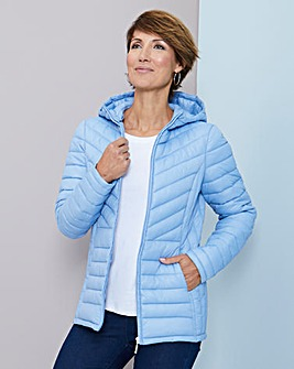 Julipa Pale Blue Padded Jacket in Bag with Hood