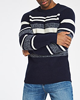 Blue/Grey Colourblock Stripe Jumper