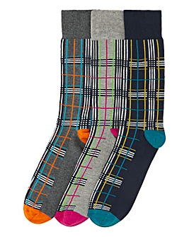 3 Pack Colourful Check Ankle Socks