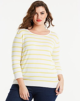 Lemon/White Stripe Crew Neck Jumper