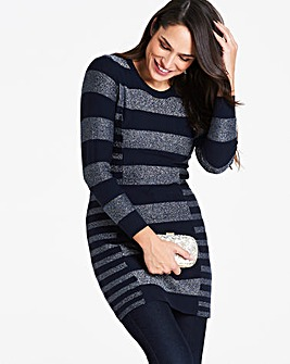 Navy/Silver Stripe Illusion Tunic