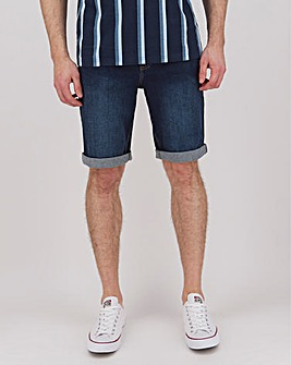 Stonewash Straight Fit Denim Shorts