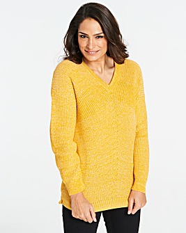 Saffron Twist Yarn V Neck Jumper