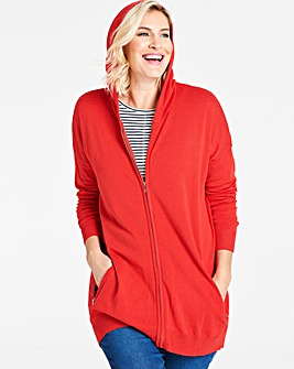 Flame Red Hooded Sportive Cardigan