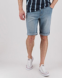 Bleachwash Straight Fit Denim Shorts