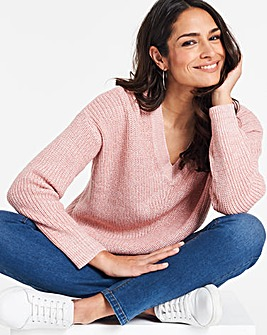 Blush/Ivory V Neck Pointelle Jumper