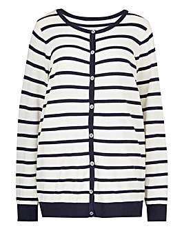 Crew Neck Stripe Cardigan
