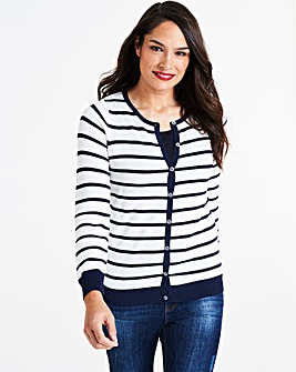 Stripe Crew Neck Cardigan