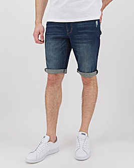 Indigo Ripped Detail Denim Shorts