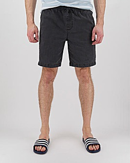 Blackwash Denim Elasticated Waistband Shorts