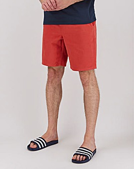 Red washed Denim Elasticated Waistband Shorts