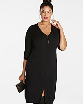 Rib Detail Knitted Midi Dress