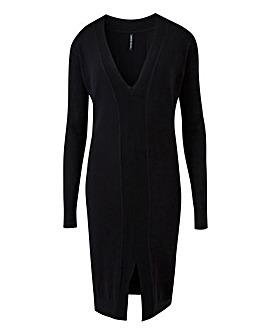 Rib Detail Knitted Midi Dress