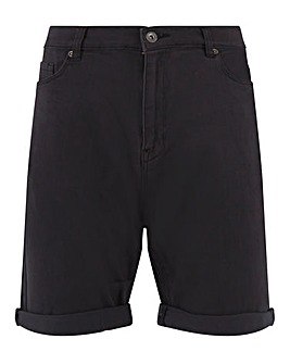 Black Gabardine Straight Fit Shorts