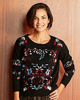 Embroidered Boucle Jumper