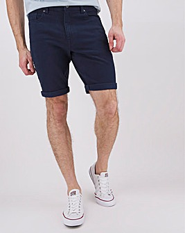 Navy Gabardine Straight Fit Shorts