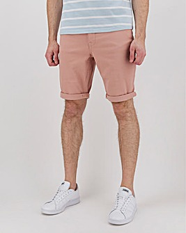 Pink Gabardine Twill Straight Fit Shorts