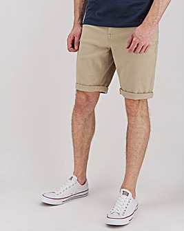 Stone Gabardine Twill Straight Fit Shorts