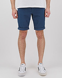 Blue Gabardine Twill Straight Fit Shorts