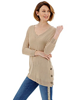 Soft Sand Linen Mix Button Detail Jumper