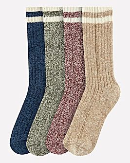 Pack of 4 Recycled Yarn Boot Socks