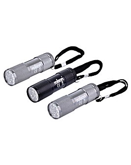 Rolson 3pc 9 LED Aluminium Torch Set