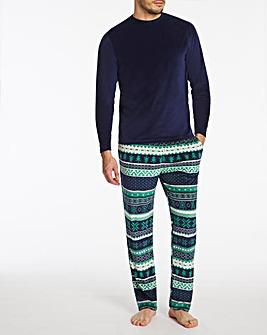 Fairisle Printed Fleece Xmas Pyjama Set