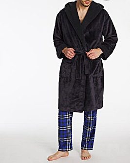 Navy Honeycomb Fleece Dressing Gown