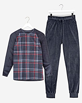 Navy Checked Fleece Long Pyjama Set