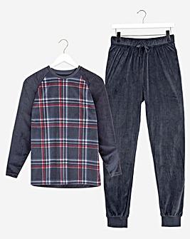 Navy Checked Fleece Long Pyjama Set