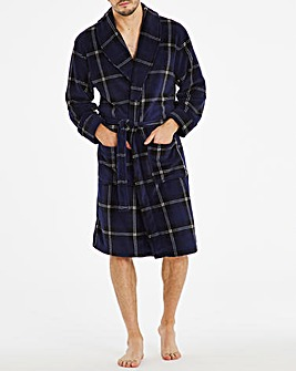 Navy Check Fleece Dressing Gown