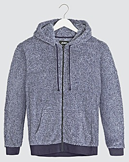 Navy Fleece Zip Through Lounge Top