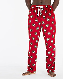Xmas Pudding Print Fleece Loungepants