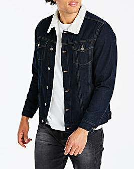 Indigo Borg Lined Denim Jacket Long
