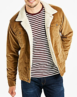 Tan Borg Lined Cord Jacket Long