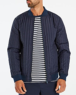 Navy Quilted Bomber Long