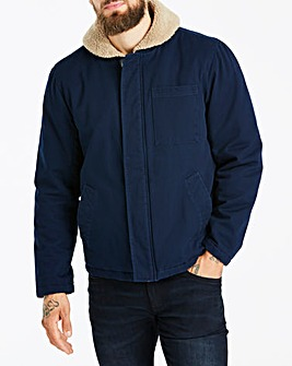 Navy Borg Collar Jacket Long