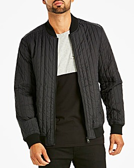 Black Quilted Bomber Long