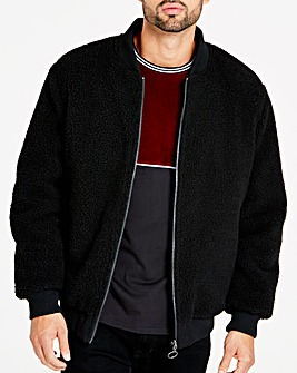 Jacamo Black Borg Lined Reversible Bomber Long