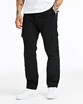 Black Fatigue Detail Cargo Trouser 33 in